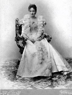 Russian Empress Alexandra Feodorovna in her ball outfit. Tsarskoe Selo, early 20th century.