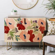 Pink Poppies Credenza – gold aston legs