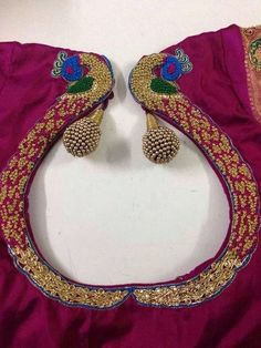 Saree blouse with peacock embroidery design