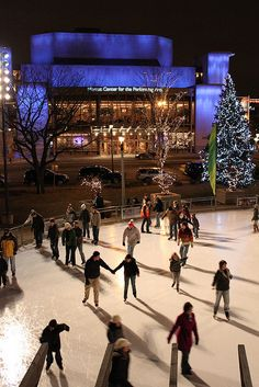 Milwaukee's downtown ice skating at Red Arrow Park across from the Marcus Performing Arts Center and City Hall.