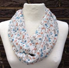 Soft calico floral chiffon infinity scarf white peach teal on Etsy, $18.00