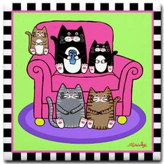 5 Kitty Cats on a Pink Chair Art TILE