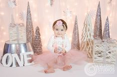Winter baby girl first 1st birthday portrait snowflakes snow