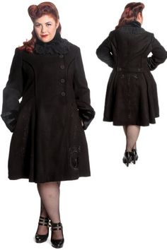 19696f546d144 Fairy Black Coat by Hell Bunny PLUS SIZE Voluptuous Women