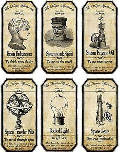 Vintage Labels Halloween Steampunk Assorted Bottle Label Stickers Set Of 6 Glossy Paper - Halloween Apothecary Labels, Halloween Bottle Labels, Halloween Potions, Halloween Cards, Halloween Fun, Halloween Printable, Vintage Halloween, Potion Labels, Beer Labels