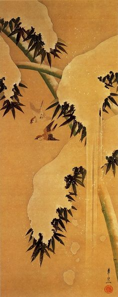 Bamboo and Little Birds in the Snow - Suzuki Kiitsu (1796-1858)