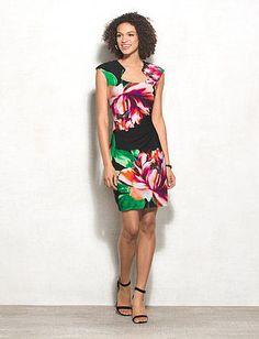 51599caadb Side-Ruched Floral Knit Dress Dress Barn Dresses