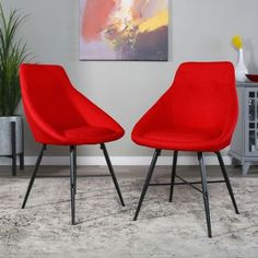 Oscar Set of 2 Red Linen Curved Dining Chairs by Bellamy Studios, Size: 32 inch H x 19 inch W x 22 inch Large Linen Dining Chairs, Dining Room Table Chairs, Eames Chairs, Modern Dining Chairs, Upholstered Chairs, Arm Chairs, Blue Chairs, Outdoor Dining, Teal Accent Chair
