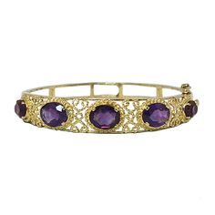 Victorian Style 14K Gold Amethyst Bangle Bracelet, c. 1970. $1250