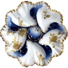 Antique Flow Blue Oyster Plate, Wilhelm Graef
