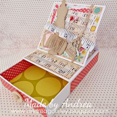 pull out drawer with the card on top - Scoring technique  sweetshoppedesigns.com