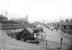 Dunlaoghaire pier Co Dublin with town hall in the background. Dublin Street, Dublin City, Michael Church, St Michael, Old Photos, Vintage Photos, Photo Engraving, Dublin Ireland, Town Hall