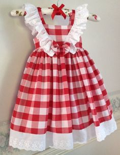 Red and White Checked Gingham Dress White Lace Frills Sun dress Party Dress Size 1 Handmade Ready to Ship Cotton Dress Little Dresses, Little Girl Dresses, Flower Girl Dresses, Baby Dresses, Dress Girl, Girl Dress Patterns, Baby Patterns, Gingham Dress, Spring Dresses