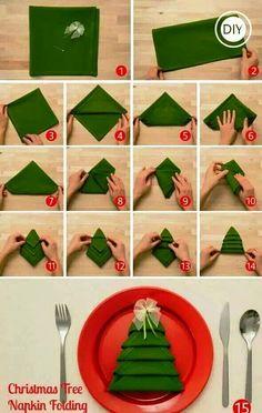 Christmas tree napkin fold.