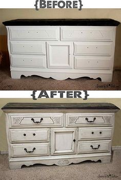 distressed old white chalk paint and clear soft wax on dresser