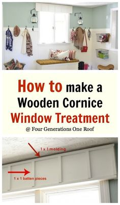 DIY wooden cornice board window treatment @Four Generations One Roof