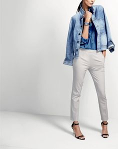 Crew women's denim workwear jacket, indigo gauze popover shirt, Martie pant in bi-stretch cotton, Timex® for J.Crew Andros watch and high-heel ankle-strap sandals. J Crew Outfits, Vest Outfits, Casual Outfits, J Crew Style, My Style, Classic White Shirt, Complete Outfits, Fashion Lookbook, Work Fashion