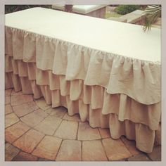 Cute for bridal party table at reception Wedding Ideas Board, Wedding Inspiration, Ruffled Tablecloth, Bridal Party Tables, Wedding Birds, Event Design, Valance Curtains, Tablescapes, Burlap