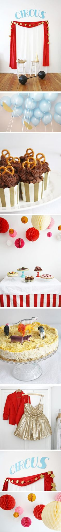 Organize and host your own circus theme party with colorful decor ideas, bright costumes and a delicious food table. Lots of inspiration via Luloveshandmade.com.