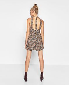 Image 4 of PRINTED DRESS WITH TIE from Zara
