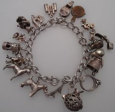 1960s/70s Vintage Sterling Solid Silver Charm Bracelet  - 18 Charms        (S26)