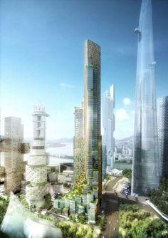 Block H | by Kohn Pedersen Fox Associates | Yongsan ( 용산구 ) International Business District, Seoul ( 서울 ), South Korea ( 대한민국 ). Más sobre ciudades sostenibles en www.solerplanet.com