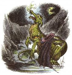 Eustace as a dragon -- original art by Pauline Baynes, The Voyage of the Dawn Treader | The Chronicles of Narnia