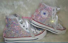 White High Sparkled Crystal Converse Wedding Prom - Eshays, LLC | Eshays, LLC