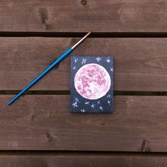 Mini Canvas Painting 3.5 x 2.5  'Luna 5  Pink Moon & by Piefingers