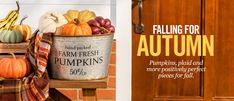 Falling for Autumn - Pumpkins, plaid & more positively perfect pieces for fall. Fall Home Decor, Autumn Home, Deck Fireplace, Pumpkin Farm, Orange Leaf, Tree Quilt, Eat In Kitchen, Fall Collections, Autumn Trees