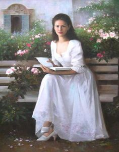woman in white dress sitting in garden LDS ART OF WOMEN Woman woman in white dress - Woman Dresses Reading Art, Woman Reading, Romantic Paintings, Beautiful Paintings, Woman Painting, Figure Painting, Arte Lds, Moderne Outfits, Fine Arts College