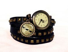 Leather watch bracelet - Birds on moon, 0466WBBC  from EgginEgg by DaWanda.com