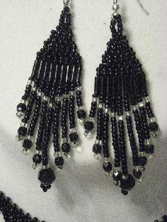 11/0 Black Beaded Earrings $8.00 Paypal: EagleWearIntl@yahoo.com