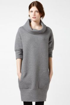 Elbow Sleeve Quilted Sweatshirt Dress