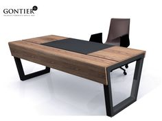 large office desk made of ash with a leather deskpad. Plugs are under the pad for only one single wirecable on the floor Rustic Office Desk, Large Office Desk, Industrial Office Desk, Office Table Design, Modern Office Desk, Office Furniture Design, Office Interior Design, Office Interiors, Office Desks