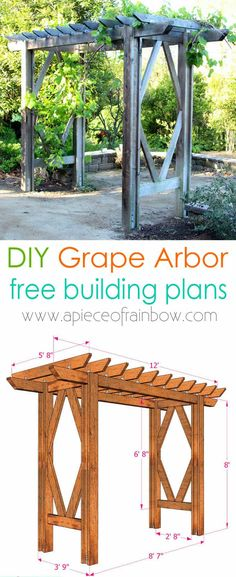 DIY Grape Arbor: Free Building Plan How to build a beautiful DIY pergola ( beginner friendly DIY grape arbor )! Free building plan with step by step drawings and lots of detailed photos. Build it easily for your garden without buying pergola kits! Diy Pergola, Diy Arbour, Wooden Pergola, Pergola Kits, Pergola Ideas, Arbor Ideas, Cheap Pergola, Diy Deck, Pergola Roof
