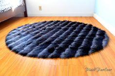 Black Gray Bipolar Bear Faux Fur Round Circular Area Rug Home Decor Bedroom Rug Modern Oval Rugs, Round Area Rugs, Black And Grey Rugs, Blue And White, Nursery Rugs, Bipolar, Shaggy, Pink Yellow, Luxury Homes