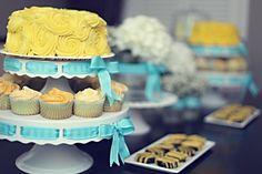Pretty baby shower dessert table! #babyshower #desserttable