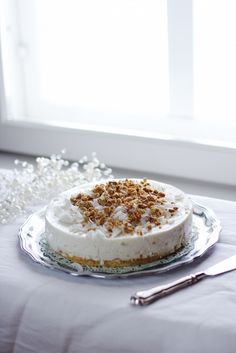 Coconut mousse cake with roasted white chocolate