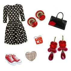 Be my Valentine... :)) #DoriCsengeri #Valentine #heart #red #earrings #accessories #styling #fashion