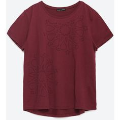 Zara Geometric Design T-Shirt ($20) ❤ liked on Polyvore featuring tops, t-shirts, maroon, red tee, maroon t shirt, red top, maroon tops and zara top