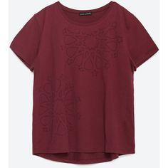 Zara Geometric Design T-Shirt ($20) ❤ liked on Polyvore featuring tops, t-shirts, shirts, maroon, maroon t shirt, maroon shirt, red t shirt, maroon top and t shirts