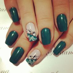 Love the color and the Fabulous Nails, Perfect Nails, Gorgeous Nails, Pretty Nails, Funky Nails, Beautiful Nail Designs, Green Nails, Flower Nails, Stylish Nails