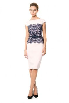 Neoprene and Lace Overlay Dress | Tadashi Shoji