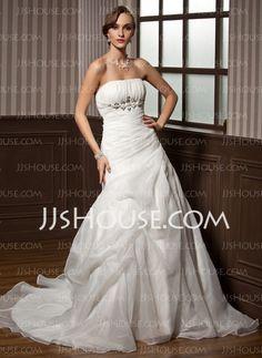 Wedding Dresses - $172.99 - A-Line/Princess Strapless Chapel Train Organza Satin Wedding Dress With Ruffle Beadwork (002011798) http://jjshouse.com/A-Line-Princess-Strapless-Chapel-Train-Organza-Satin-Wedding-Dress-With-Ruffle-Beadwork-002011798-g11798
