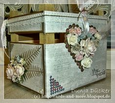 an altered wooden box (of flowers) #vildastamps #pulse_of_passion #flowers