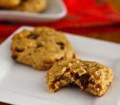 Lower-Fat Peanut Butter Banana Cookies  Ingredients 1/2 cup natural peanut butter, chunky or smooth 1/4 cup brown sugar 1/2 cup sugar 3/4 cup mashed banana 1 cup unbleached flour 1/2 cup whole wheat pastry flour 1 teaspoon baking powder 1 pinch salt 1/4 cup non-dairy chocolate chips