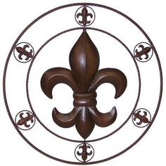 """LL Home Metal Circled Fleur De Lis Wall Décor, 25.5-Inch by LL Home. $36.11. Fleur De Lis accent wall decor. Powder coated metal for rust resistance. Brown color. A metal circle wall decor with a big circled Fleur De Lis in the center, 6 small circled Fleur De Lis around the outer circle. 25.5"""" diameter; it's big and beautiful.. Save 34%!"""