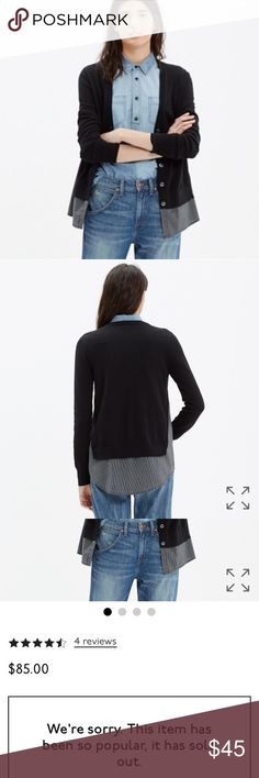 Madewell shirting cardigan out of stock! Highly rated sold out shirting cardigan sweater. Has button down style shirt material that extends from the ends giving it a layered look. Lightly used condition. Madewell Sweaters Cardigans