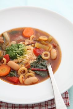 Minestrone soup.  Will make without the pancetta and using vegetable broth.